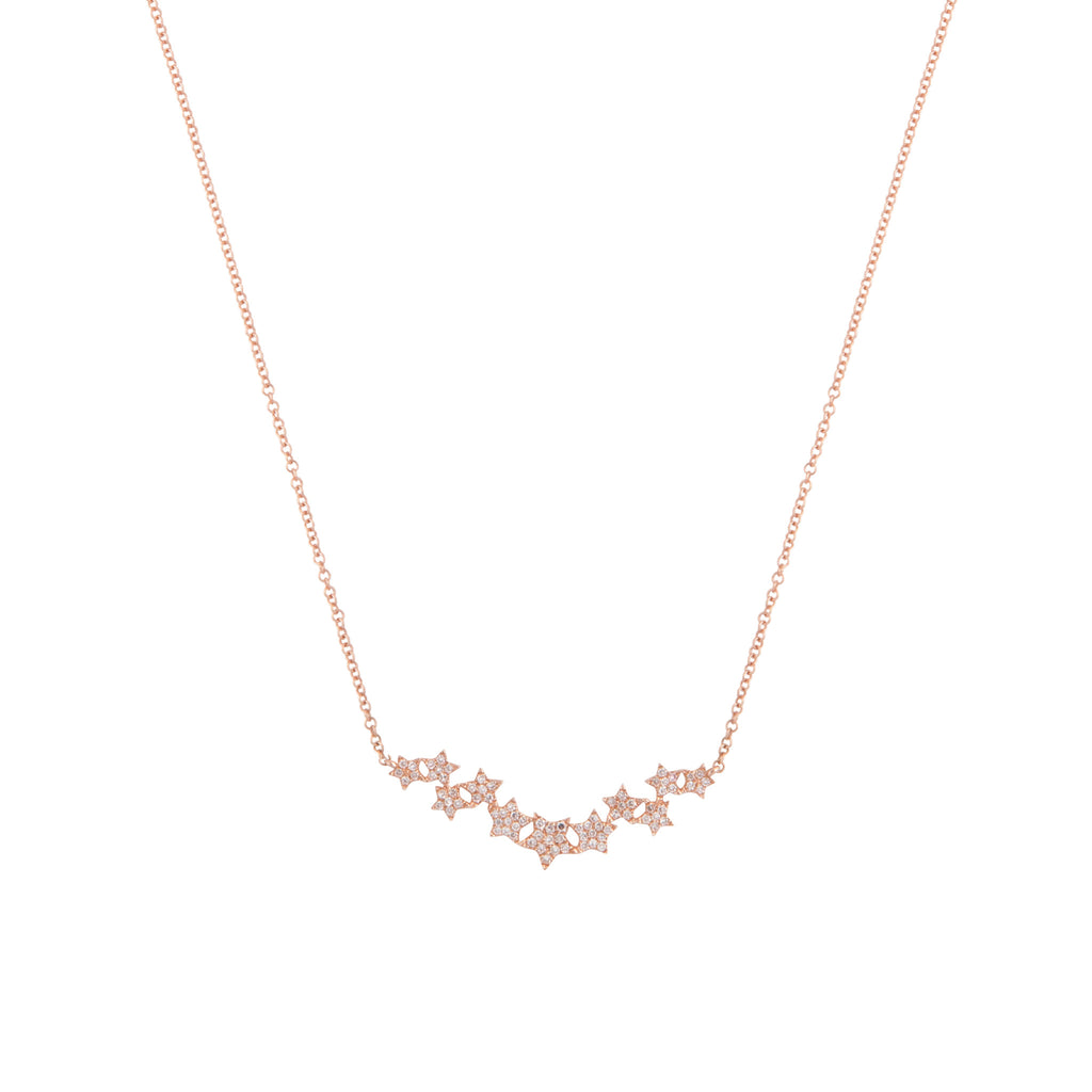 14k gold and diamond star cluster necklace