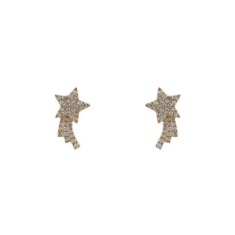 14k gold diamond shooting star studs