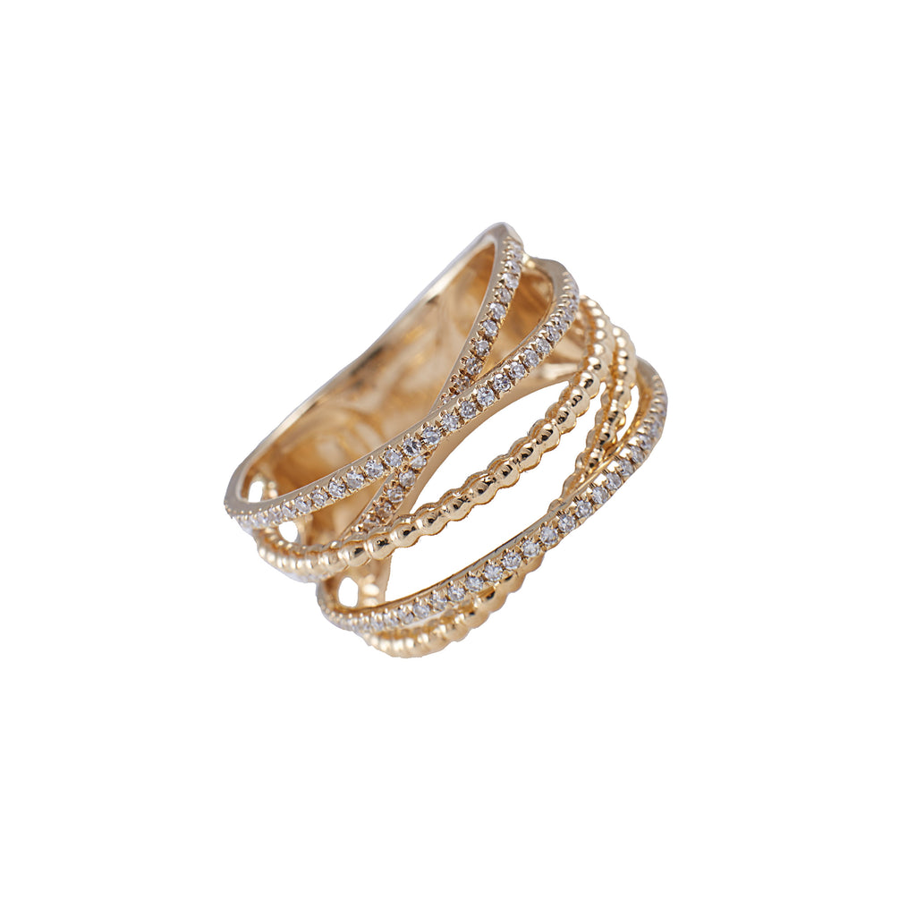 14k gold diamond criss cross shot bead ring