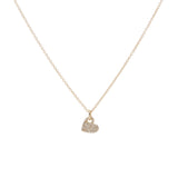 14k gold diamond slanted heart necklace