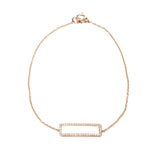 14k gold diamond small rectangle bracelet