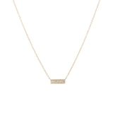 14k gold diamond baguette small bar necklace