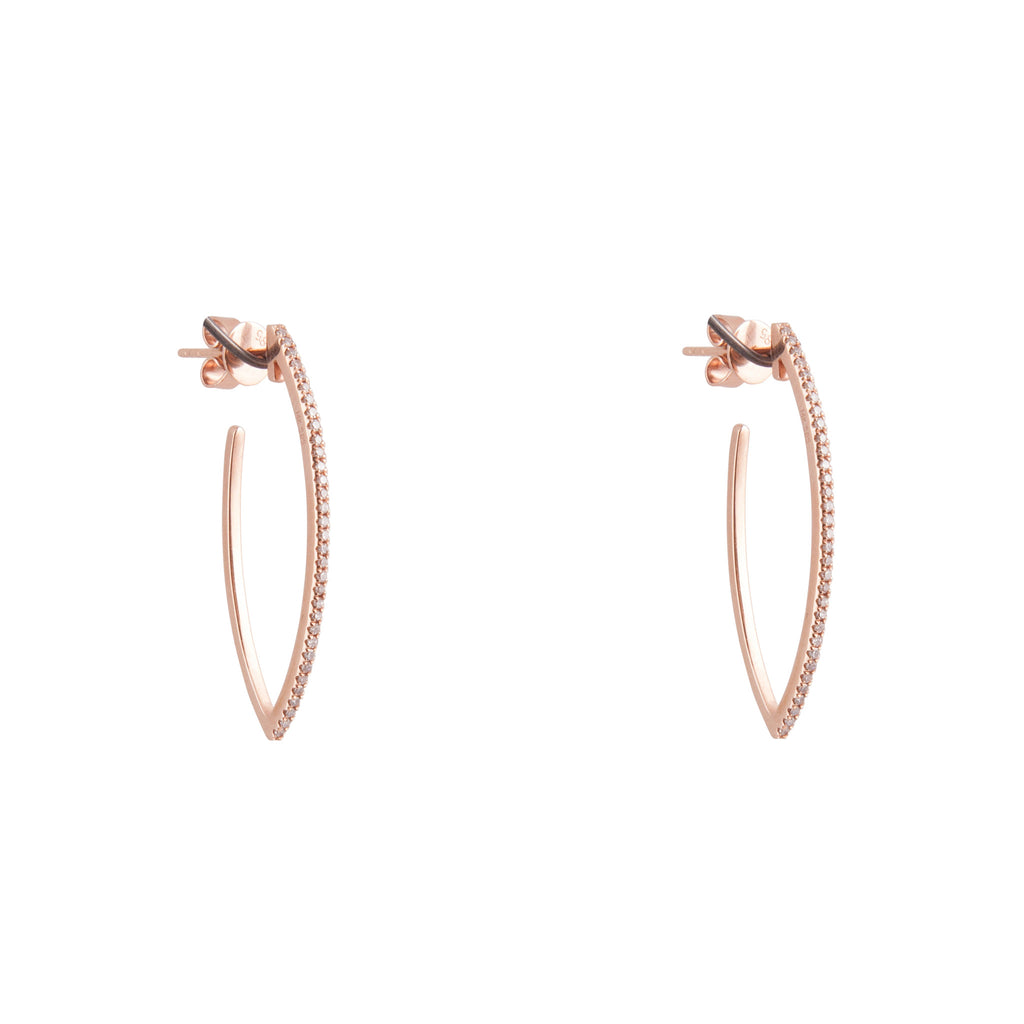 14k gold and diamond curved stick post earrings