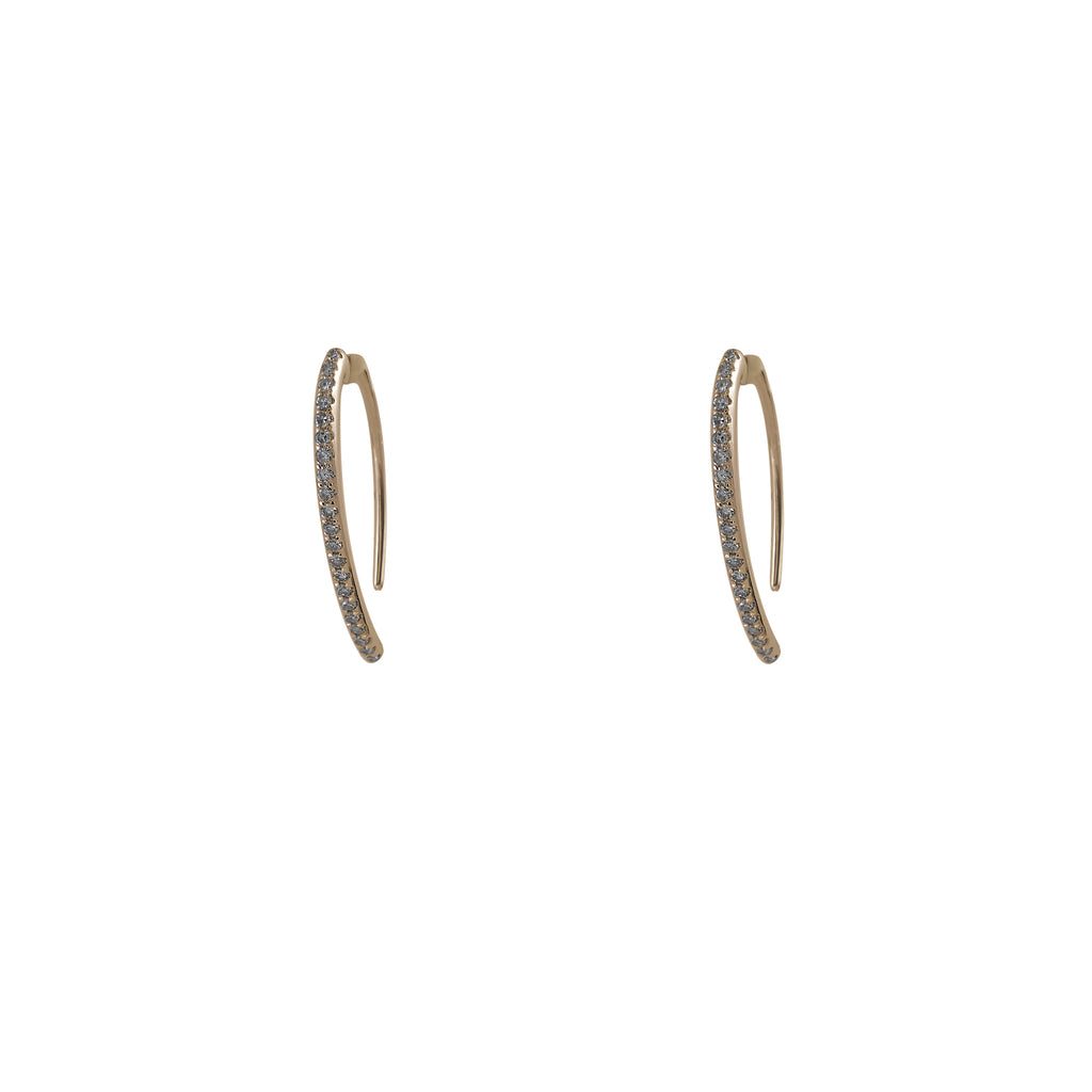 14k gold diamond small curved stick earrings