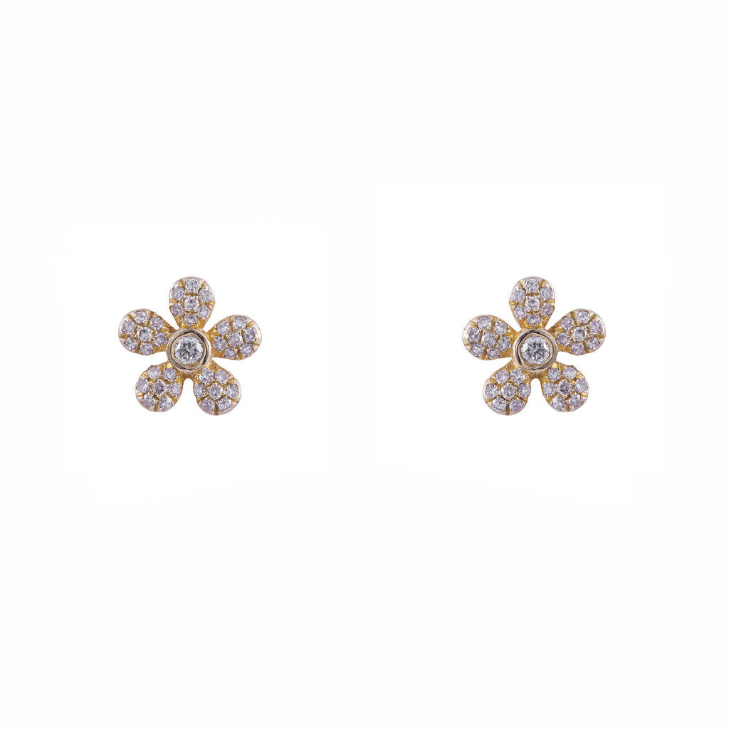 14k gold and diamond daisy studs