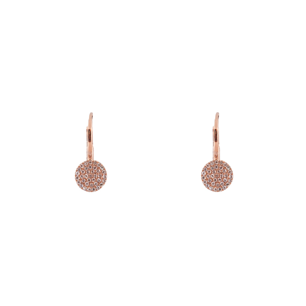 14k gold and diamond small disk drops