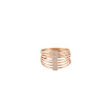 14k gold diamond multi band ring - small