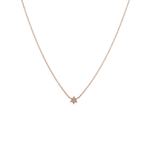 14k gold diamond bitty baby star of david necklace