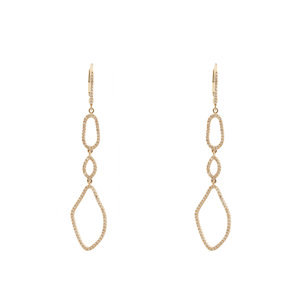 14k yellow gold small organic drop earrings