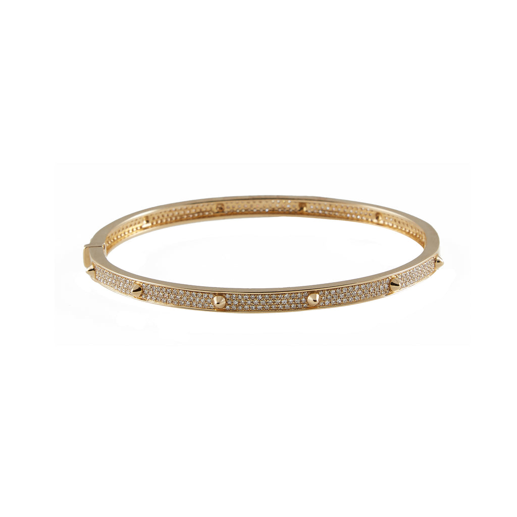 14k gold triple row diamond bangle with mini spikes
