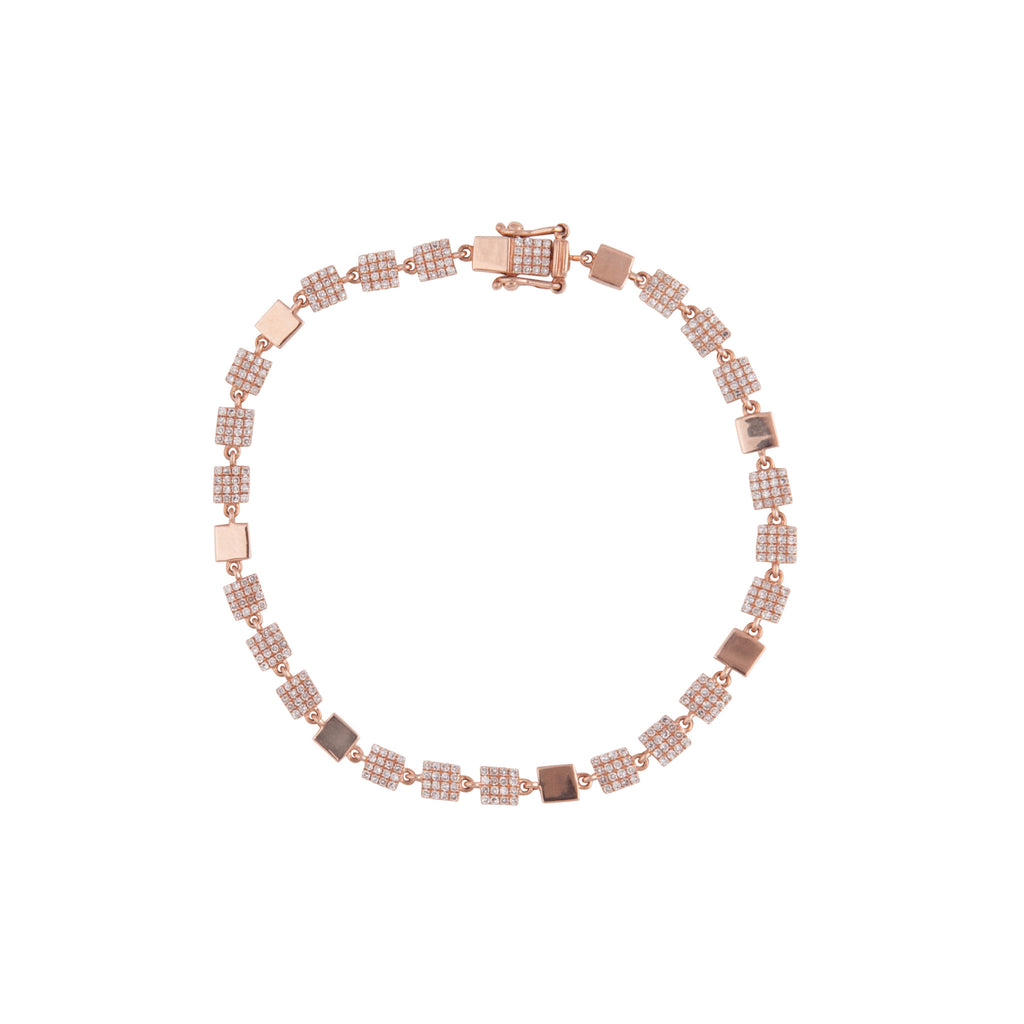 14k gold and diamond square chain bracelet