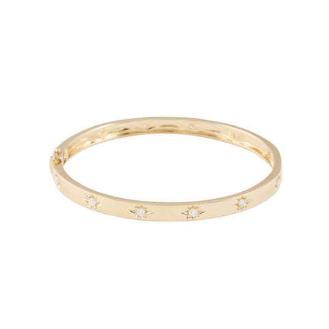14k gold diamond starburst bangle