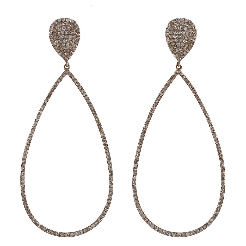 14k gold diamond teardrop post pear drops