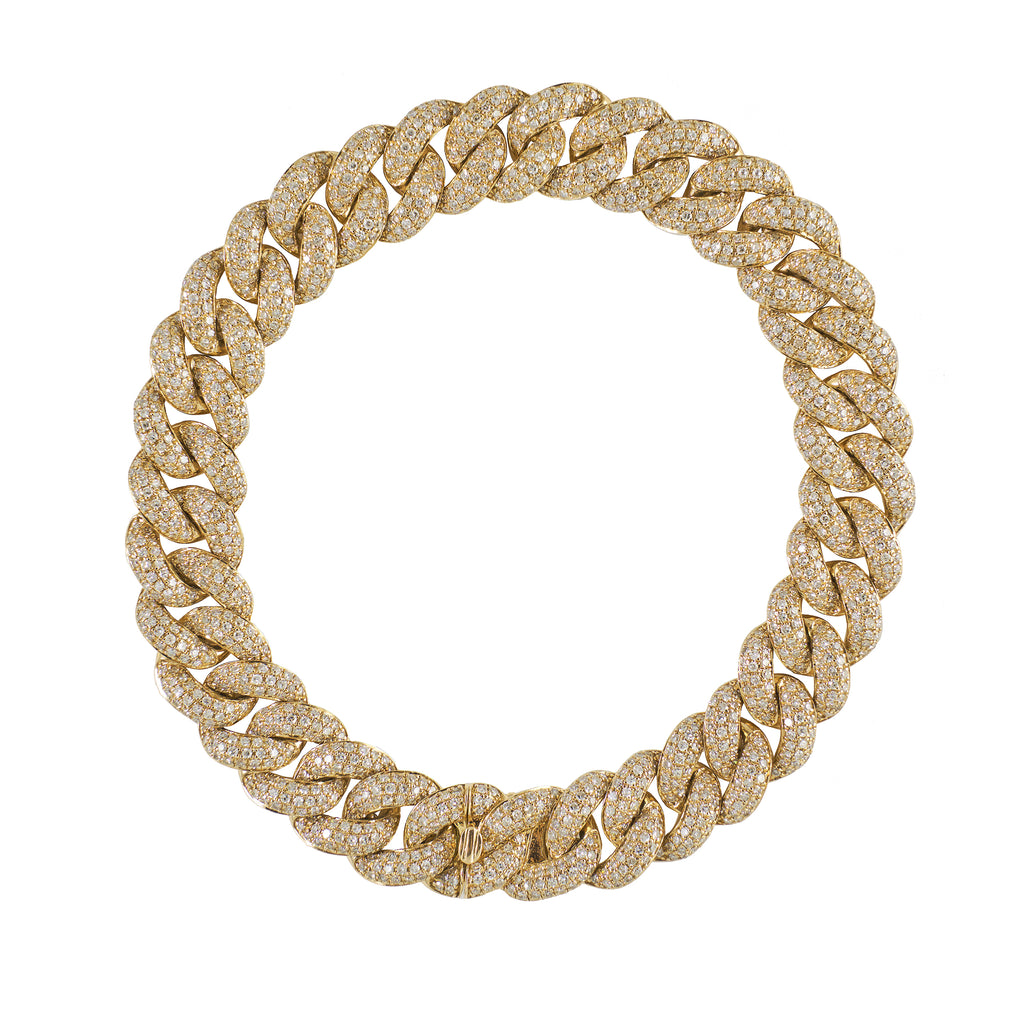 14k gold diamond large chain link bracelet