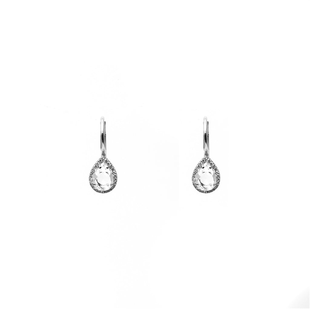 14k gold topaz small pear drop earrings