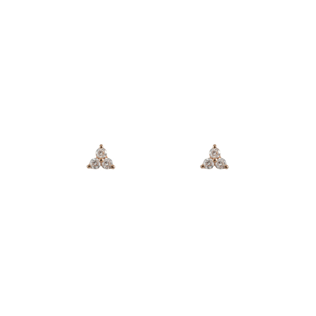 14k gold diamond cluster earrings
