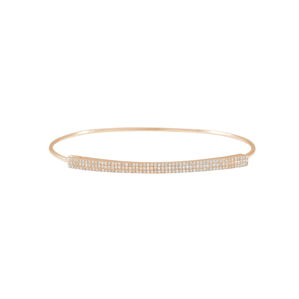 14k gold triple row bangle with closure