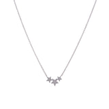 14k gold diamond triple star necklace