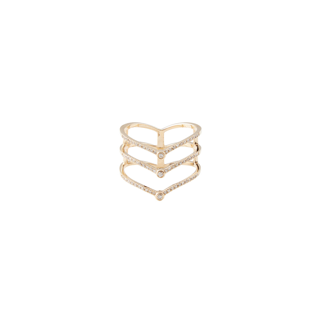 14k gold triple diamond v ring with diamond bezels