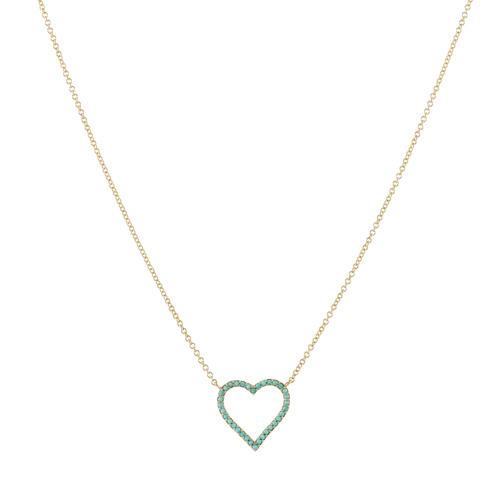 14k gold turq border open heart necklace