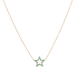 14k gold turq open star necklace