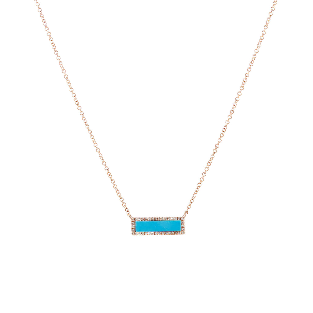 14k gold turq and diamond bar necklace