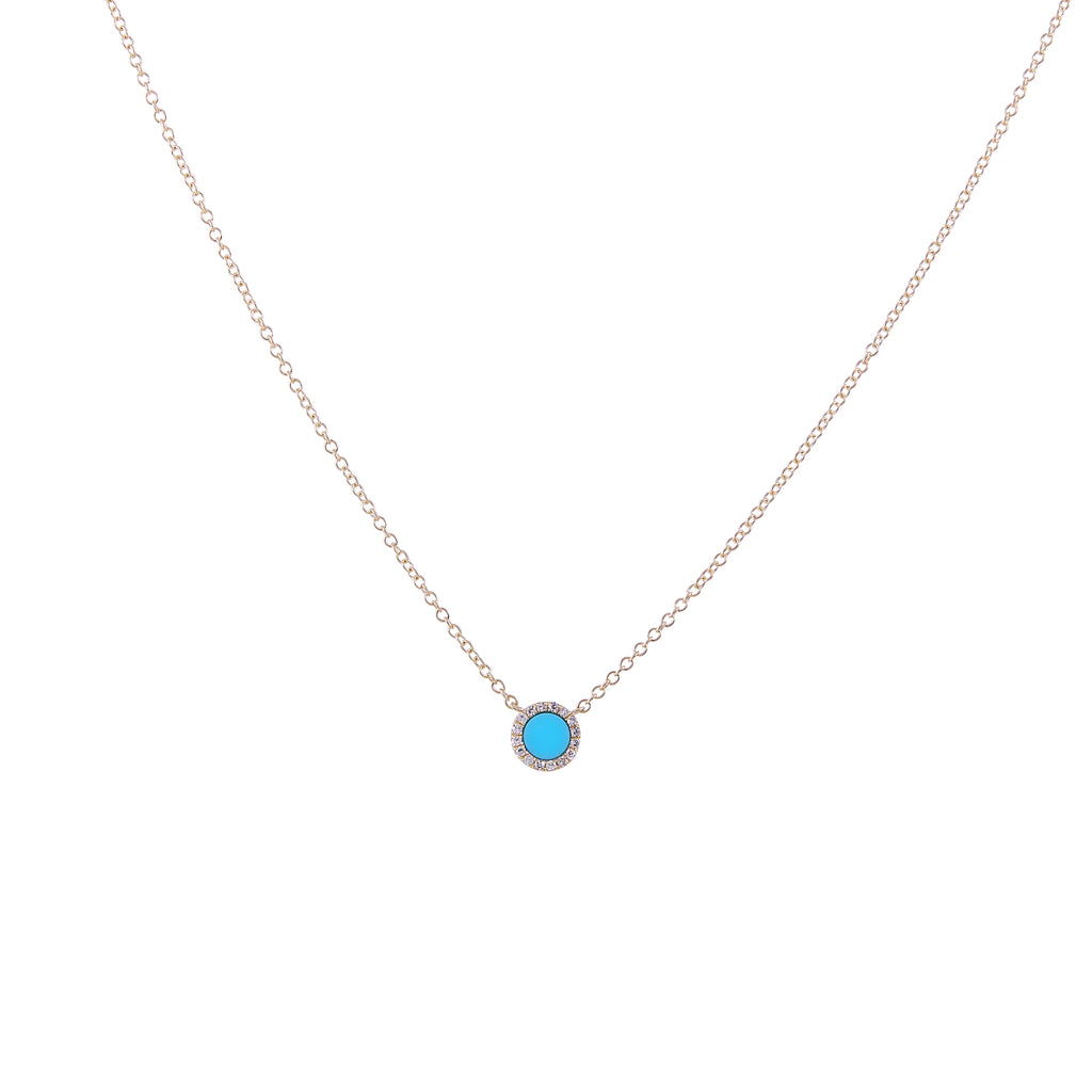 14k gold diamond turquoise circle necklace
