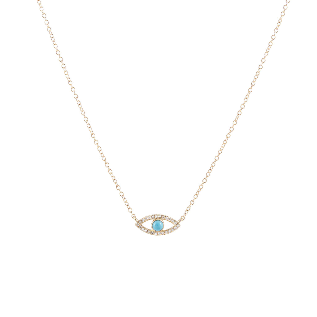 14k gold turq and diamond evil eye necklace