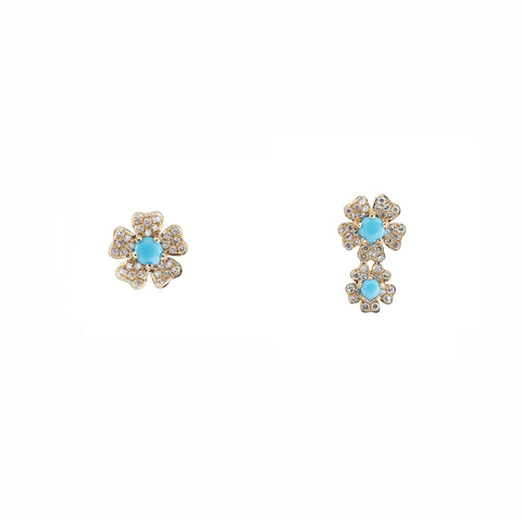 14k gold diamond turq daisy crawler and stud