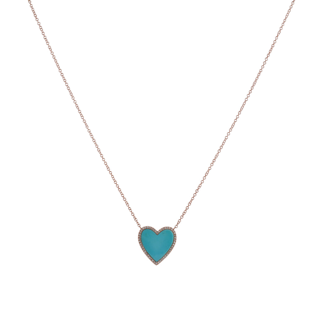 14k gold diamond and turq heart necklace