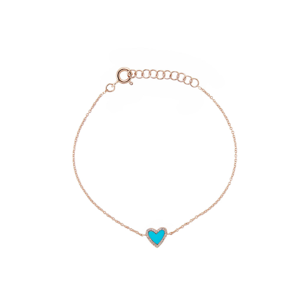 14k gold diamond and turquoise heart bracelet