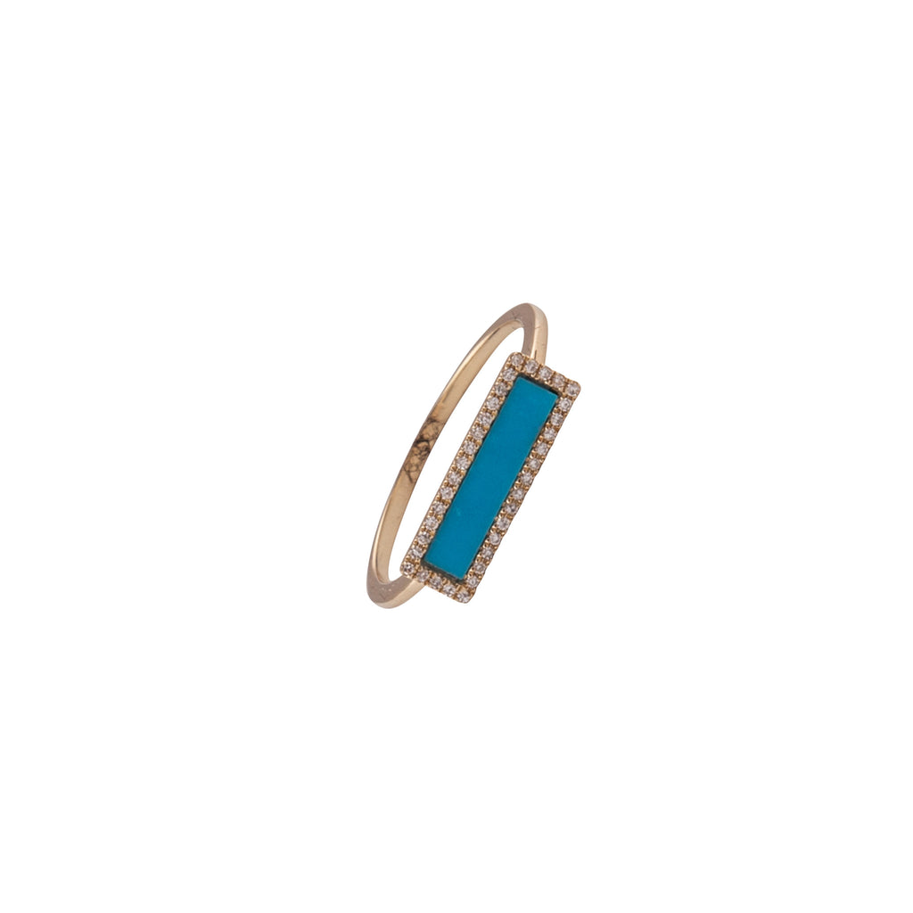 14k gold and diamond turquoise ring