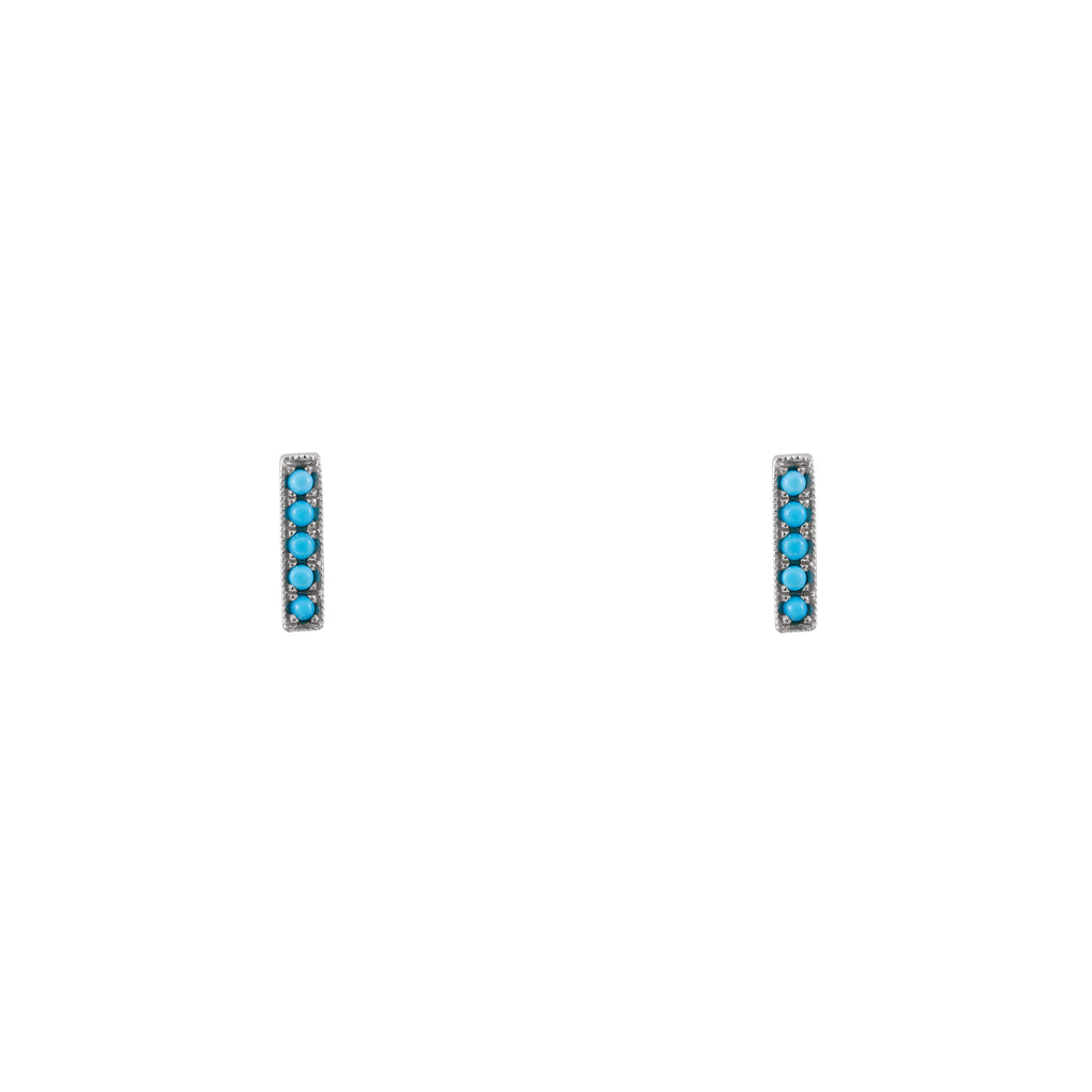 14k turquoise stick earrings
