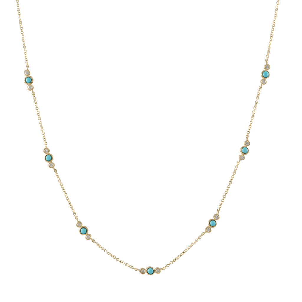 14k gold diamond turq bezel necklace