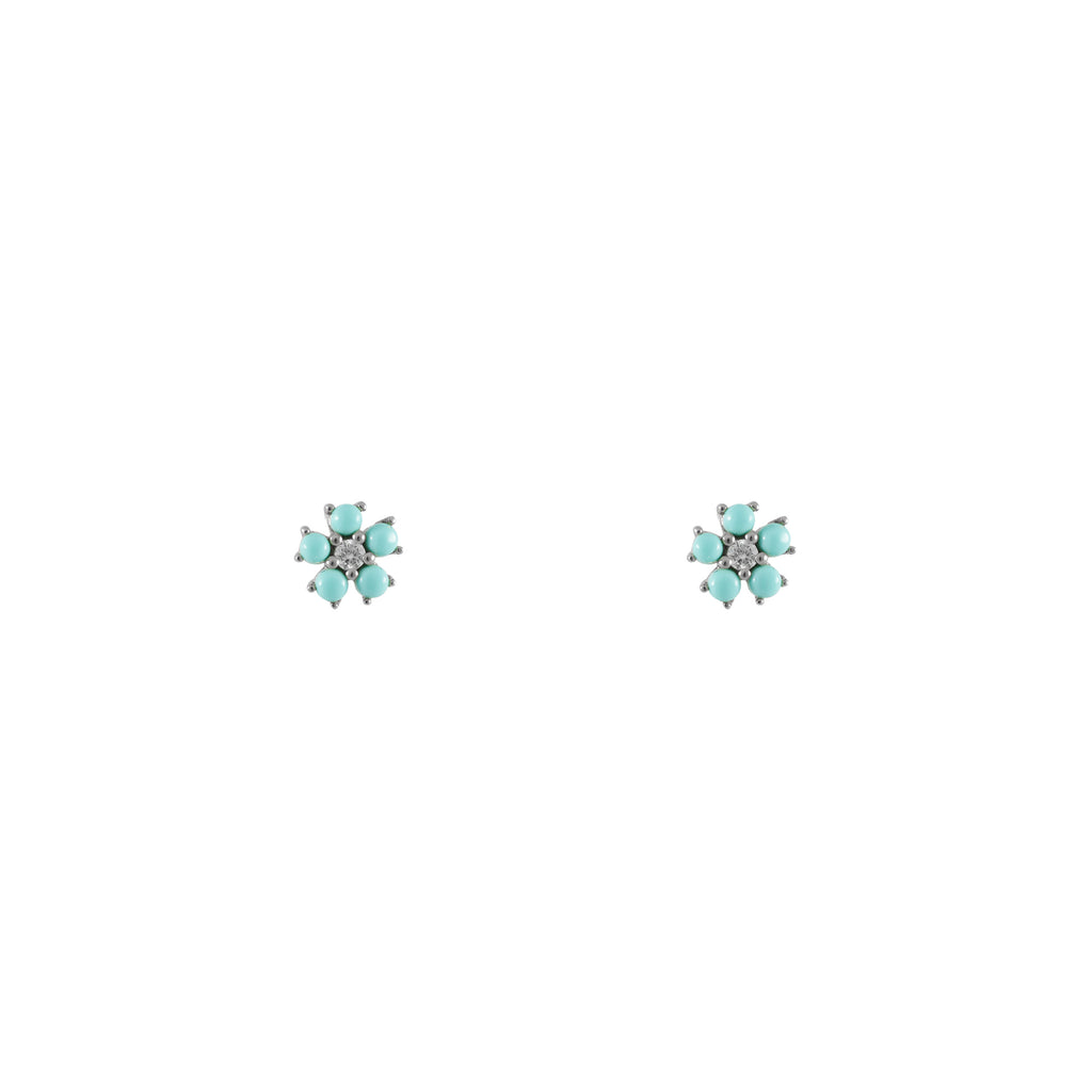 14k gold diamond turq flower earrings
