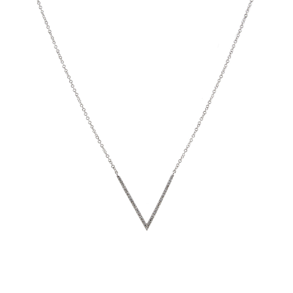 14k gold diamond large v dip necklace