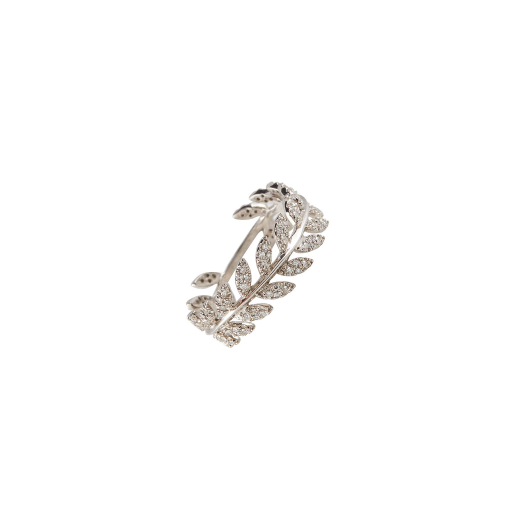14k gold diamond leaf ring