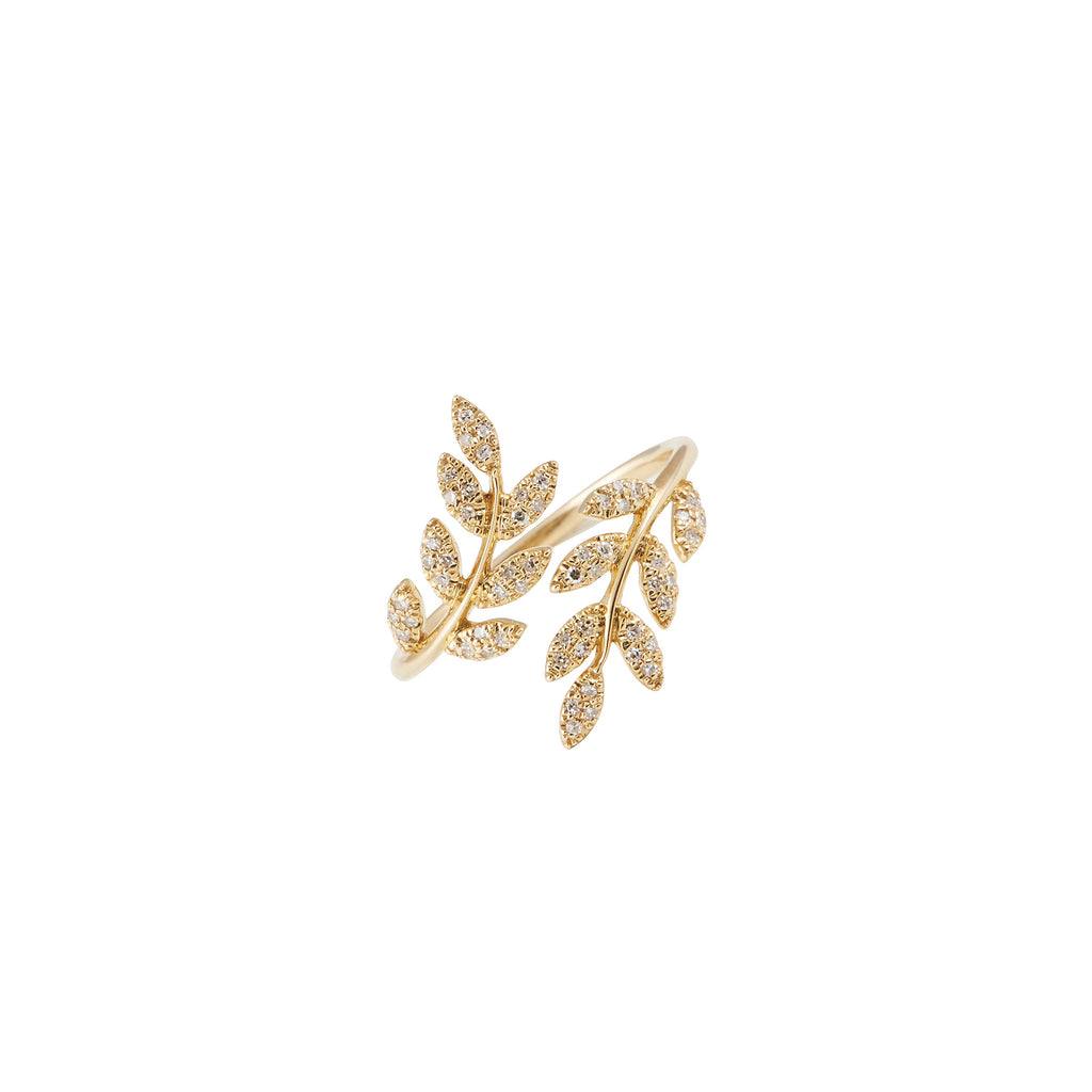 14k gold diamond leaf swirl ring
