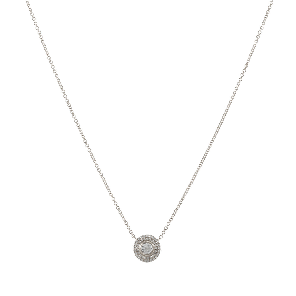 14k gold diamond white topaz round necklace