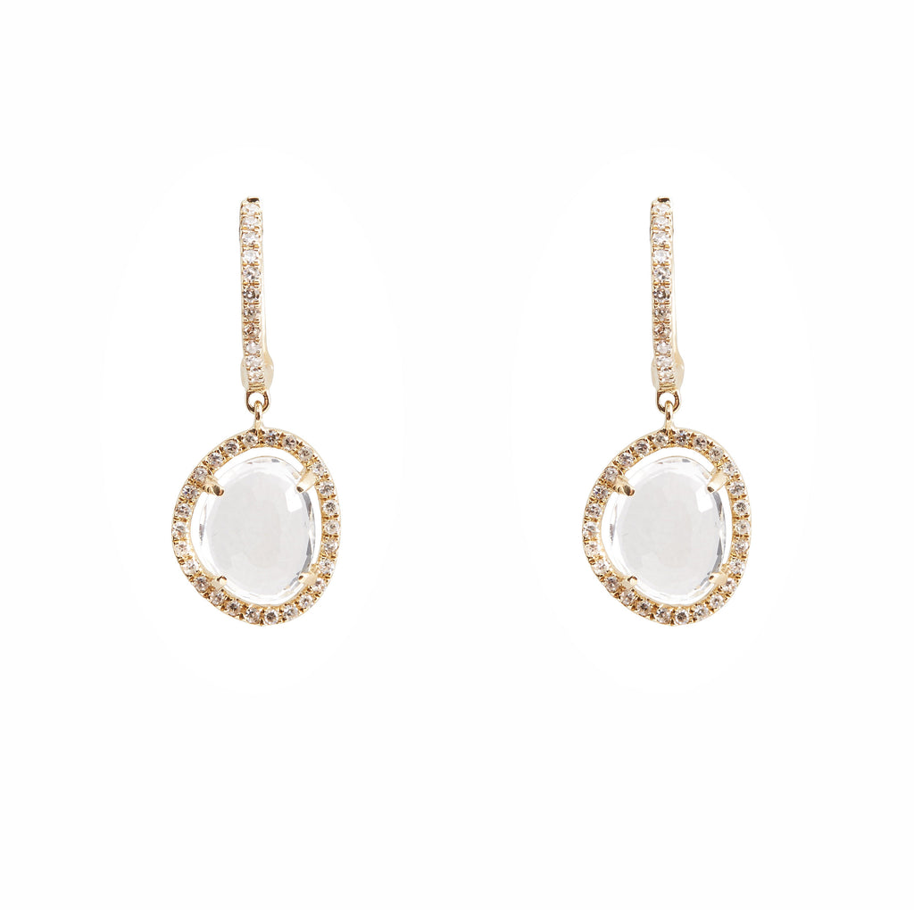 14k gold white topaz and diamond drop earrings