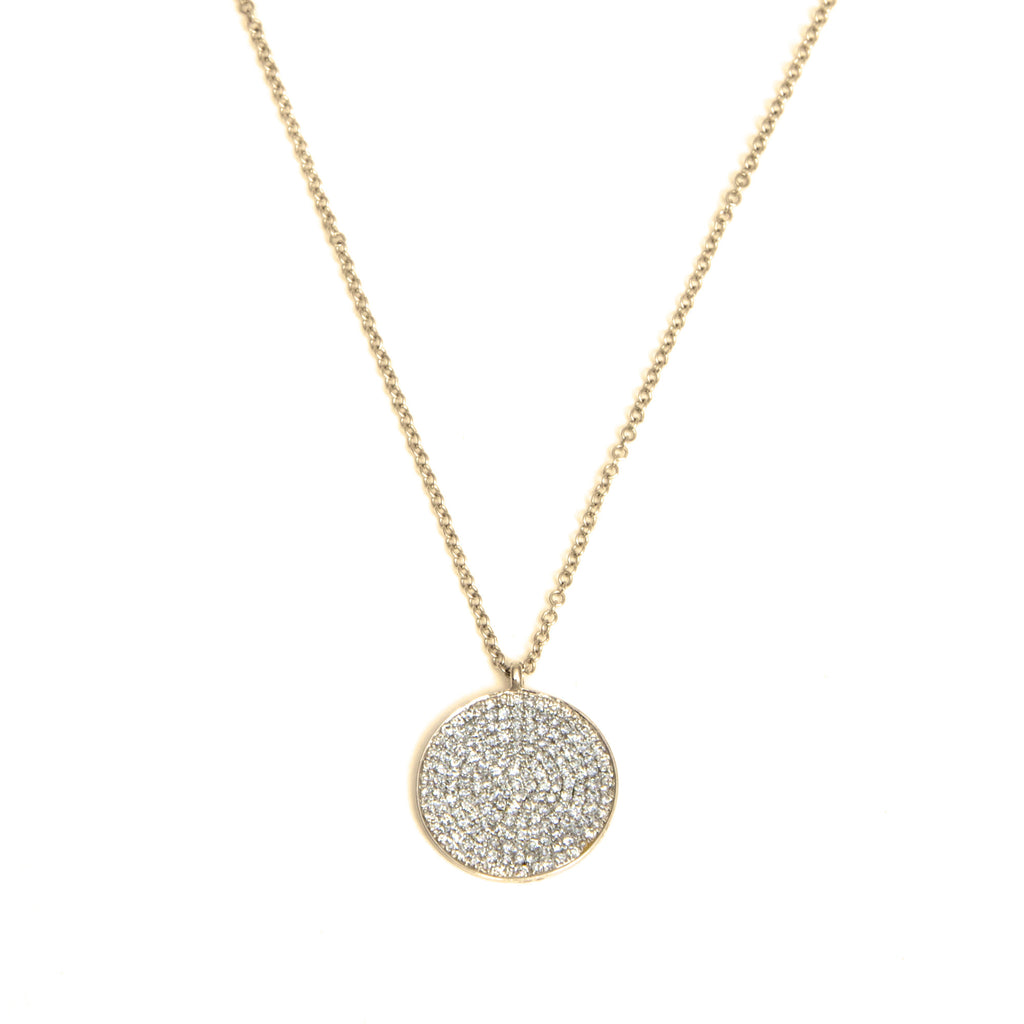 14k gold diamond XL disk necklace