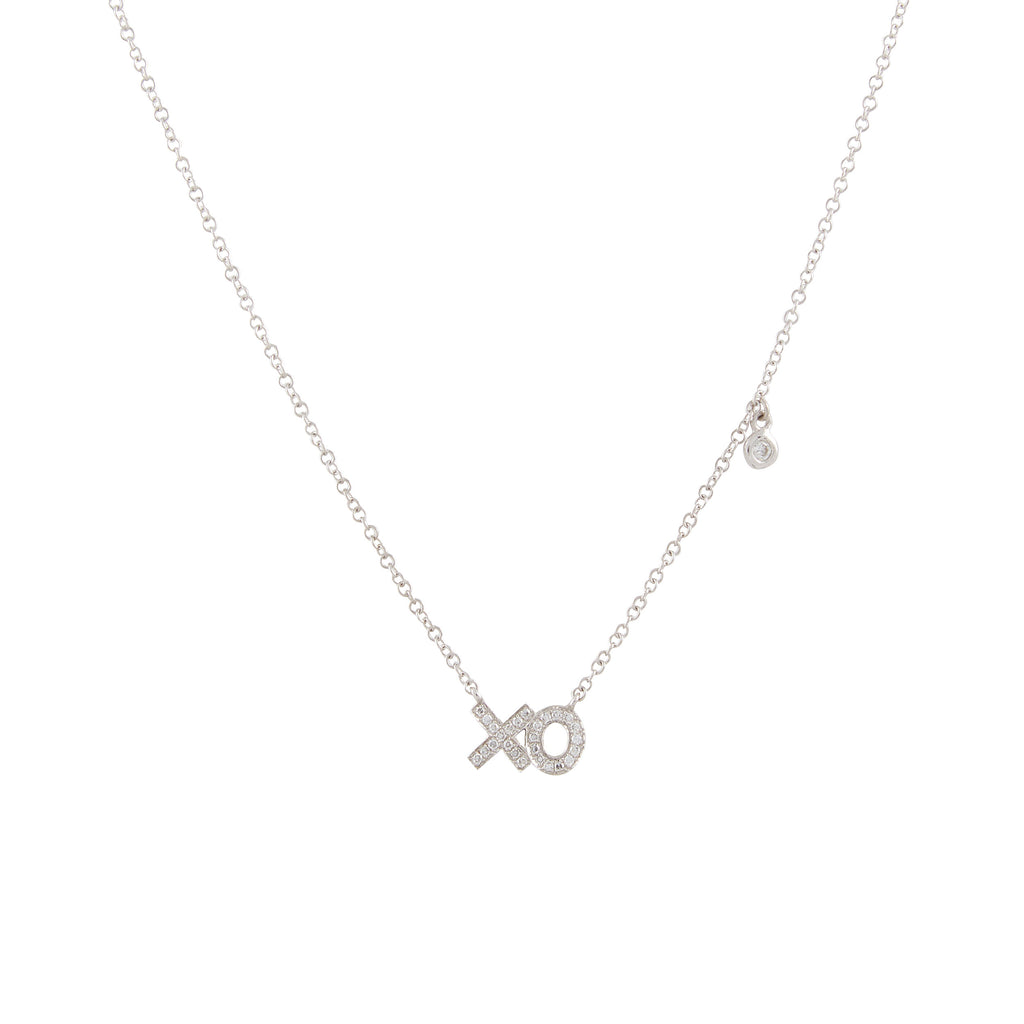 14k gold diamond XO and bezel necklace