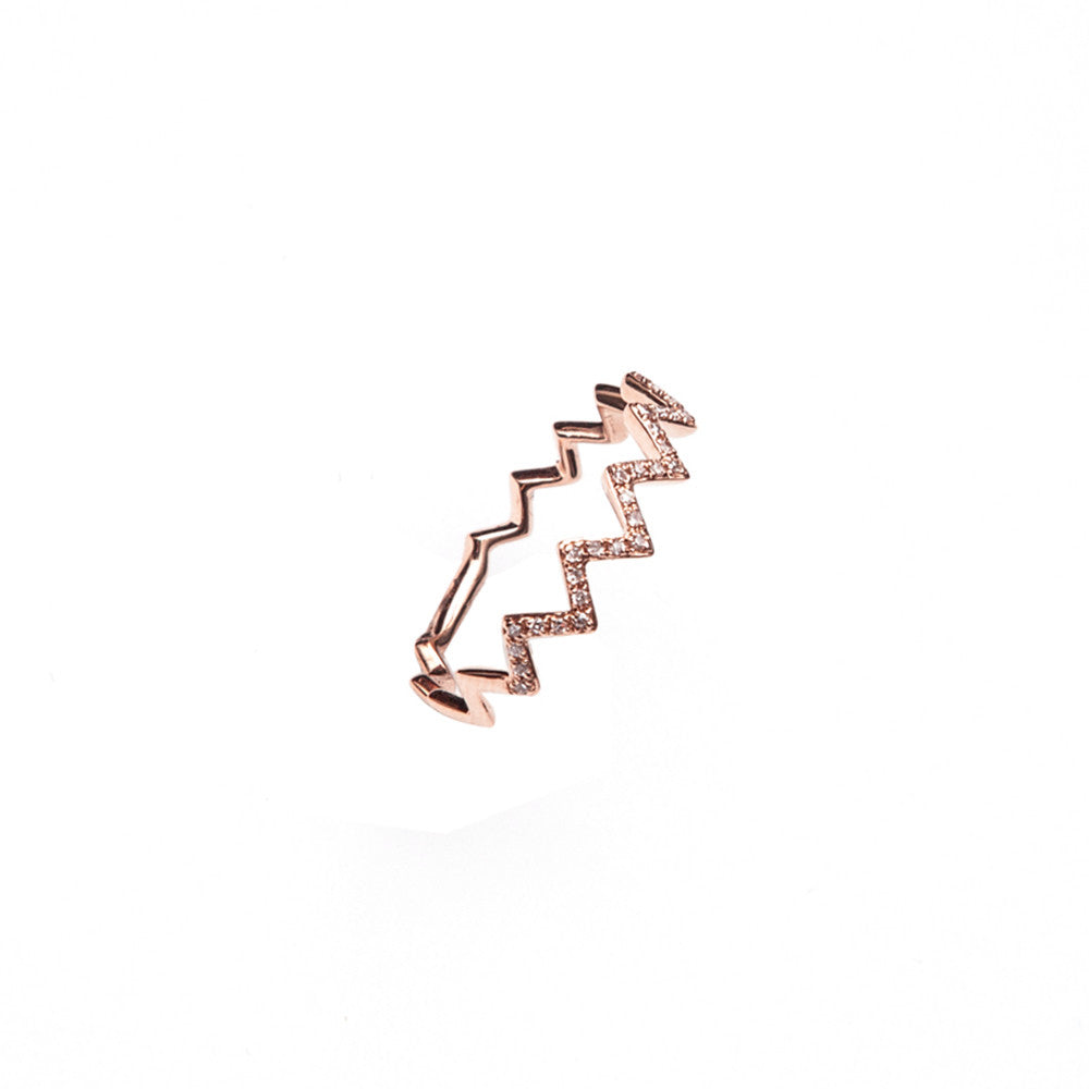 14k gold diamond zig zag band