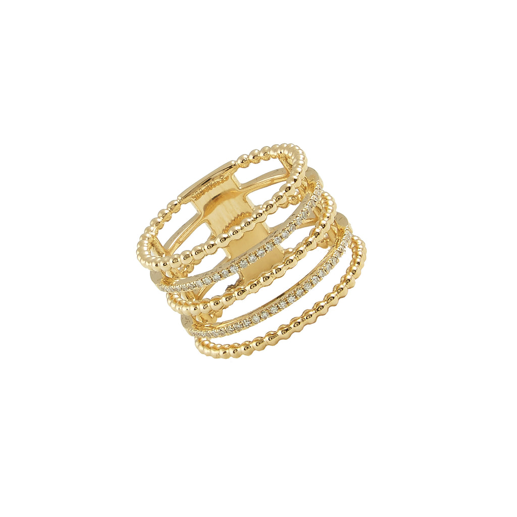 14k gold diamond 5 row shot bead band