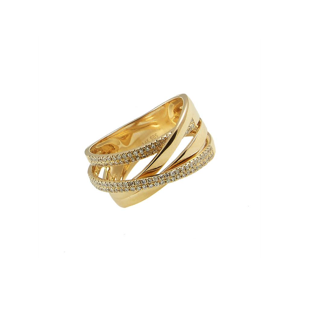 14k gold diamond multi criss cross ring