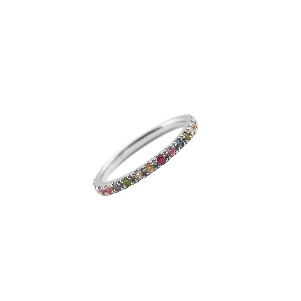 14k gold semi precious rainbow band