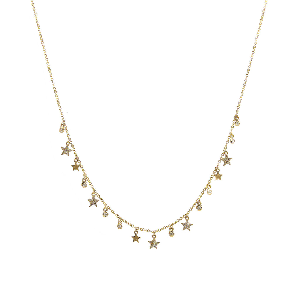 14k gold diamond mini star and bezel necklace