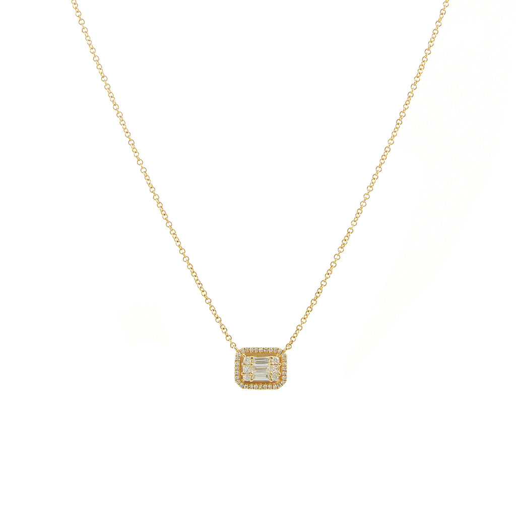 14k gold fancy diamond baguette necklace