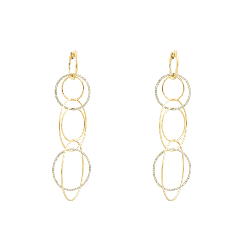 14k gold diamond multi ring earrings