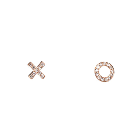 14k gold diamond xo earrings